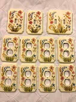 11 Floral Flower Plastic Outlet Switch & Double Gang light P