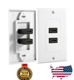 2-Port Dual HDMI Wall Face Plate Panel Cover Outlet 1080P 4K