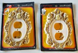 2 Vtg CAMEO OUTLET COVERS white gold  ornate plastic french