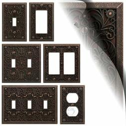 Aged Bronze Filigree Switch Cover Plate Vintage Arabesque To