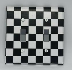 Black and White Checkered Flag Light Switch Cover Plates Out