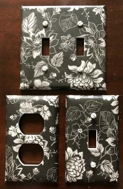 Black and White Light Switch Cover Plates Outlets Flowers Vi
