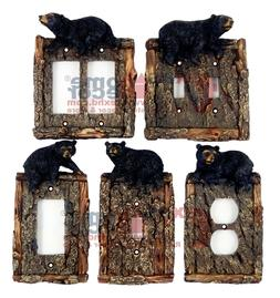 Black Bear Switch Plate Covers Faux Wood Look Cabin Decor Lo