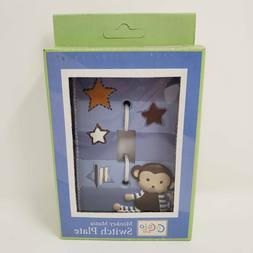 Blue / Brown Nursery Monkey Mania Switch Plate Outlet Cover