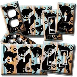 CUTE BLACK CATS RUSTIC WOOD LIGHT SWITCH OUTLET WALL PLATE C