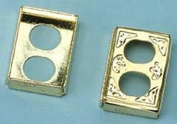 dollhouse miniature petite brass wall outlet cover