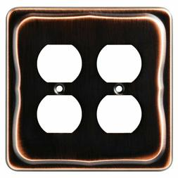 Double Duplex Wall Plate Tenley Bronze with Copper Franklin