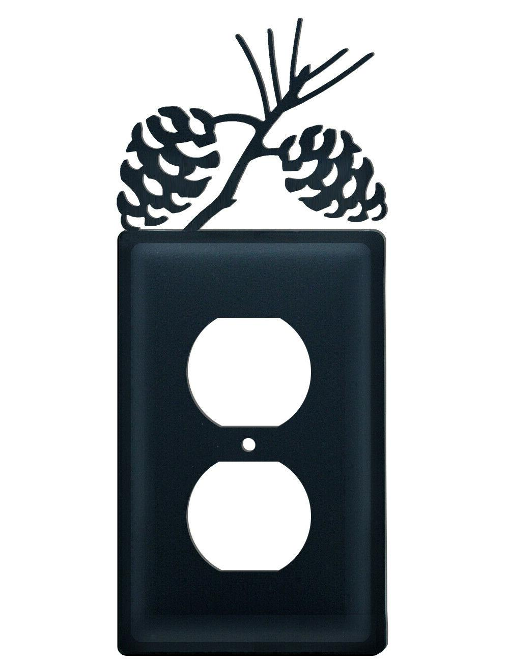pinecone outlet plate cover wrought iron rustic