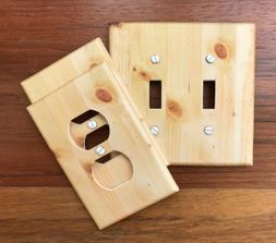 Natural Pine Wood Light Switch Plate Cover / faux image #60