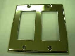 Nickel Double GFI Switch Plate Electrical Outlet Cover