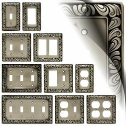 Paisley Satin Pewter Switch Plate Cover Outlet Toggle Rocker