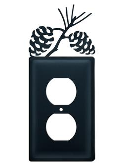 Pinecone Outlet Plate Cover Wrought Iron Rustic Cabin Lodge