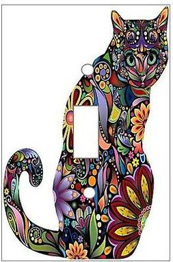 Psychedelic  Cat -  Decorative Decoupage Light Switch Covers