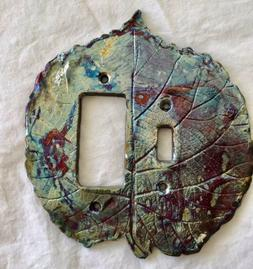 Raku Pottery Switch Plate Dimmer Outlet Cover Leaf   Signed.