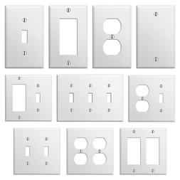 Smooth White Steel Wall Plate Toggle Switch Outlet Duplex GF