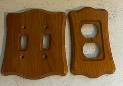 Vintage Oak Wood Flush Swtich Plate & Plug-in Wall Cover Pla