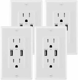 Wall Outlet 4.8A USB Dual High Speed 15A Duplex Receptacle