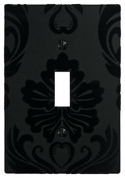 Wallplate Switch Plate & Outlet Covers Flocked Damask BLACK
