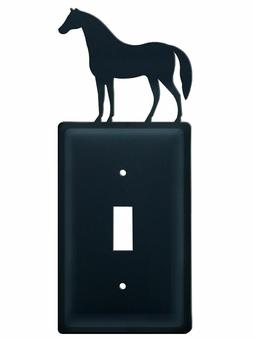 Wrought Iron -Horse Single Outlet - Toggle or GFI  Cover Pla